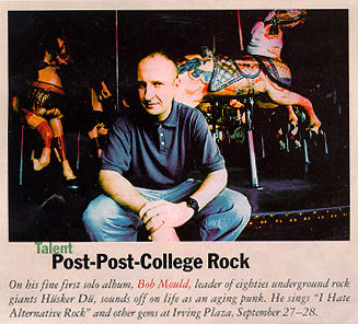 Photograph of Bob Mould from The New Yorker, September 30, 1996 - (38K) - no credit seems to have been given in the magazine